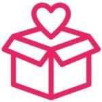 logo cadeau avec coeur au dessus - livraison offerte